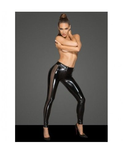 F202 PVC leggins with tulle inserts M