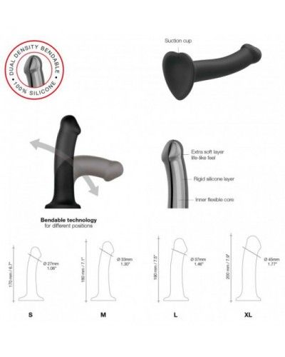 Silicone Bendable Dildo Double Density Chocolate M