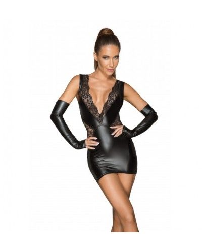 F212 Powerwetlook and lace minidress with a deep neckline M