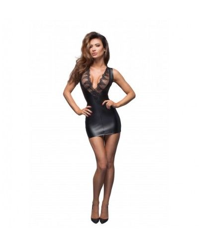 F168 Powerwetlook minidress with lace cleavage S