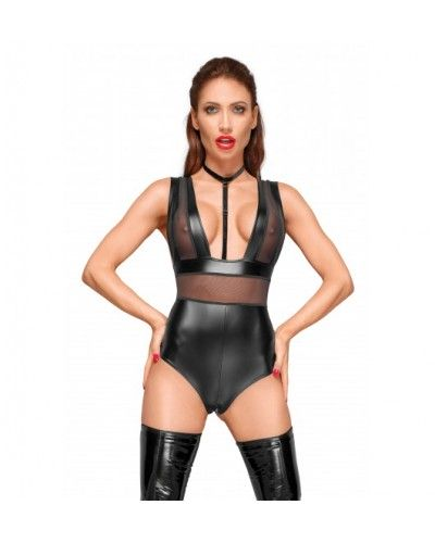 F183 Powerwetlook body with wide straps, tulle inserts and velvet choker M