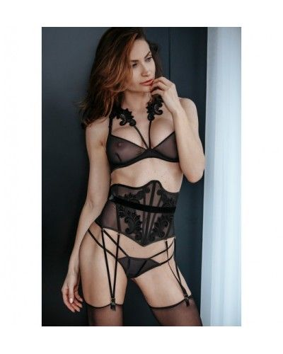Petitenoir Tulle Waspie with embroidery, suspenders and belt XL